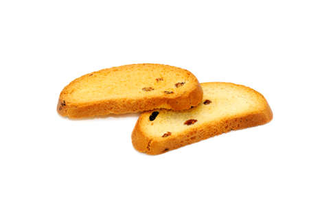 fare: zwieback isolated on a white background                                  Stock Photo