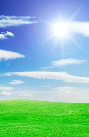 green field, blue sky, white clouds Stock Photo - 3297008