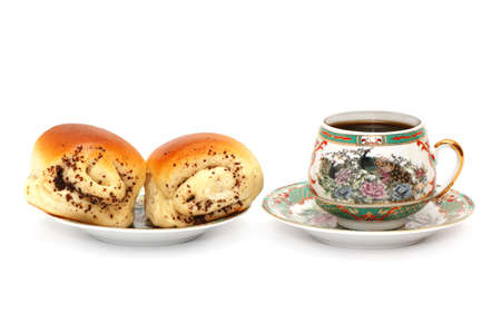 Rolls and a cup of coffee isolated on a white background                                     photo