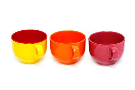Cups isolated on a white background                                     photo