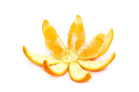 orange peel clove: Orange isolato su uno sfondo bianco                                     Archivio Fotografico