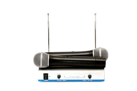 Microphones and sound mixing console isolated on a white background                                     photo