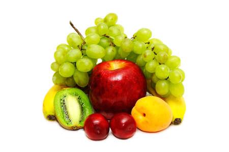 Fresh fruits isolated on a white background                                     photo