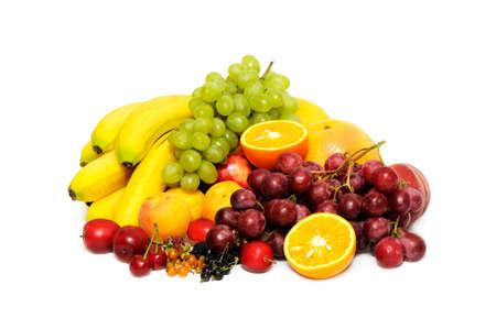 Frutas frescas aisladas sobre fondo blanco Foto de archivo