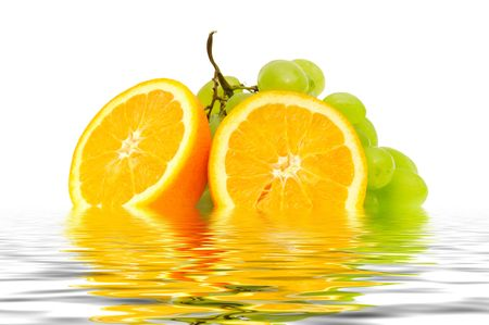 orange and grape reflected in water                                     photo