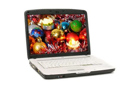laptop isolated on a white background. I am original artist of the background picture of the screen laptop. photo