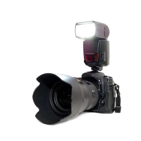 photocamera: photocamera isolated on a white background     Stock Photo