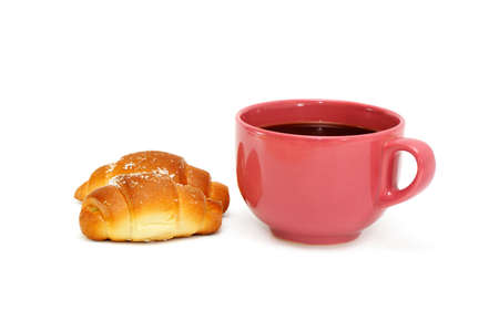 Cup of coffee and croissant isolated on the white Stock Photo - 4284335