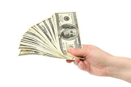 cash in hand: de d�lares en la mano aisladas sobre fondo blanco