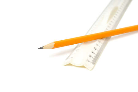pencil and ruler on white background photo