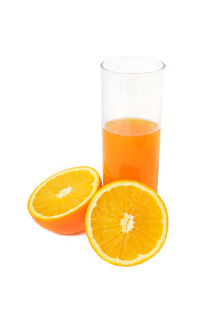 Glass with juice and orange isolated on a white background photo