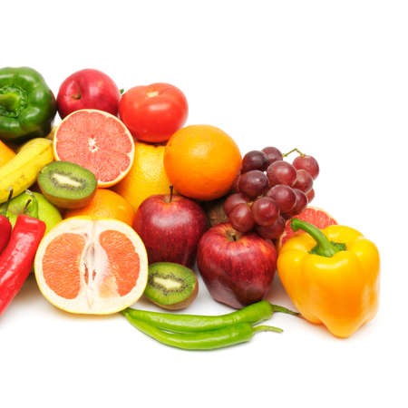 fruits and vegetables: fresh fruits and vegetables isolated on a white background