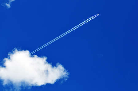 free space: airplane in the blue sky