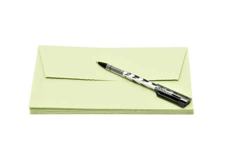 pen and cover isolated on a white                                    photo