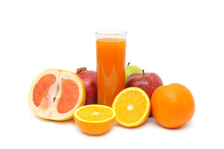 Glass with juice and fruits isolated on a white background                                     photo