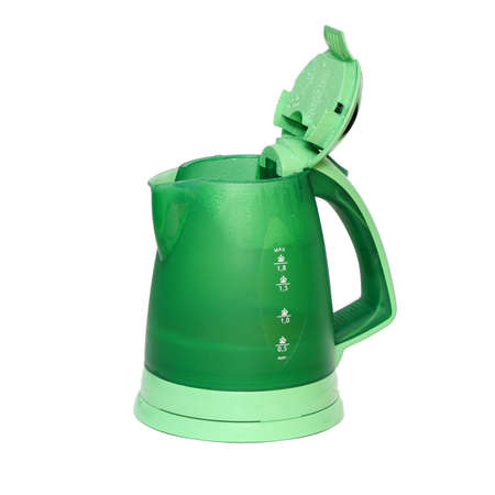 ebullient: Electric kettle for boiling waters isolated on a white                              Stock Photo