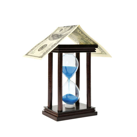 sand-glass and dollar. Concept - time is money Stock Photo - 6477206