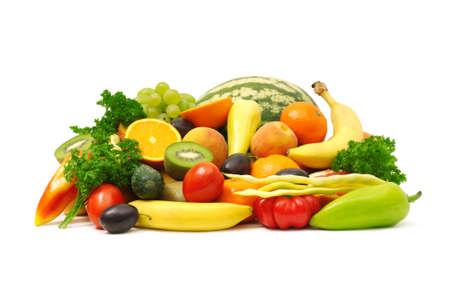 ensalada de verduras: frutas y verduras                                     Foto de archivo