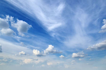 blue sky and beautiful fluffy white clouds                                     Stock Photo