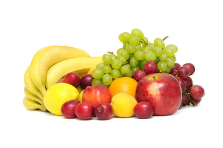 fruit market: fresh fruit on white                                     Stock Photo
