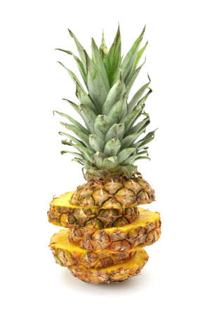 produce sections: cut ananas isolated on a white