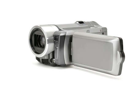 high-definition camera isolated on a white                                    photo