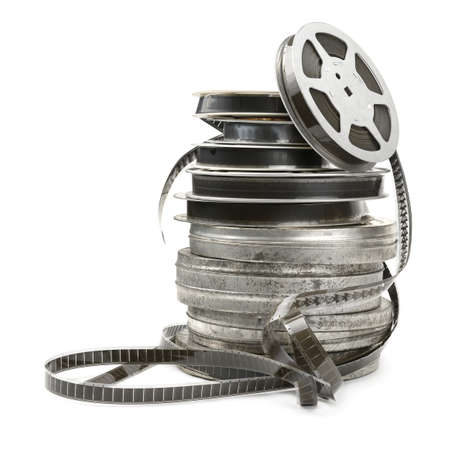 老電影膠片被隔絕在白色背景