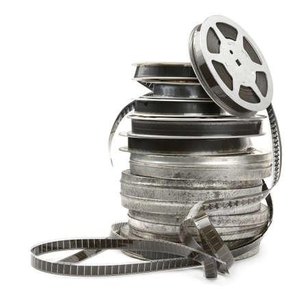 rollo pelicula: Tira de película antigua sobre fondo blanco