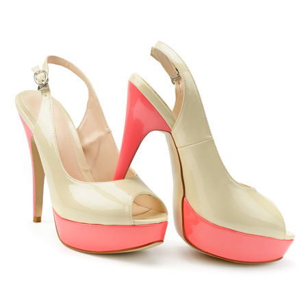opentoe: beautiful woman shoes isolated on a white background                                     Stock Photo