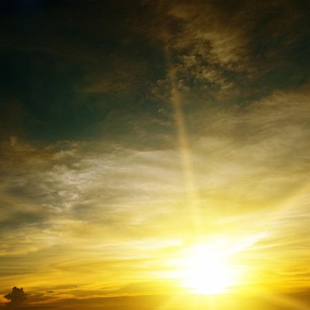 Sky illuminated by sunlight. Sunset. photo