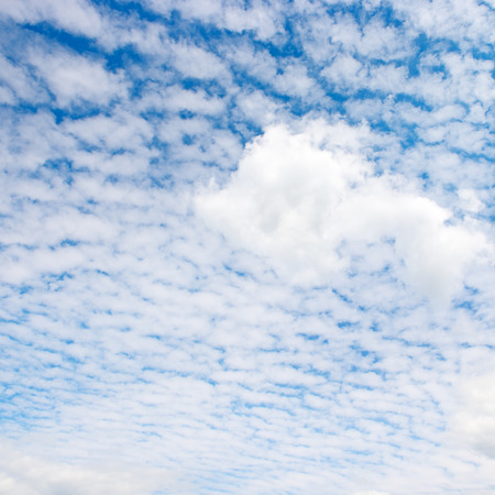 rainclouds: white cloud on blue sky                                     Stock Photo