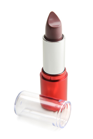 rose coloured: red lipstick isolated on a white background