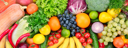 fresh fruits and vegetables background Stock Photo