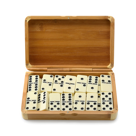 dominoes: domino in box isolated on white background