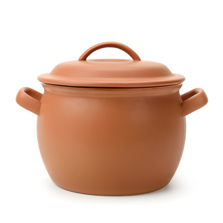 clay pot: clay pot isolated on white background                                     Stock Photo