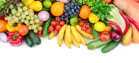 fresh fruits and vegetables isolated on white background photo
