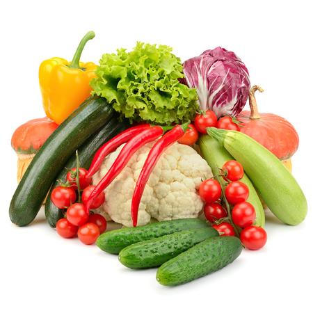 fresh vegetables isolated on white background photo