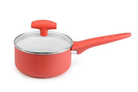 teflon: Red saucepan isolated on white background