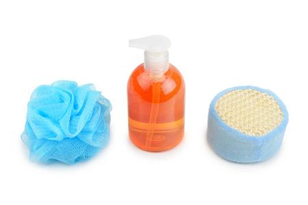 kink: shampoo and sponge isolated on white background