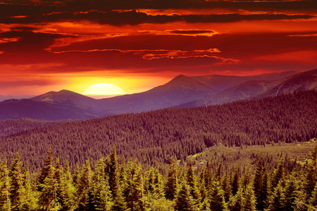 views of the mountains: fantastic sunrise in the mountains Stock Photo