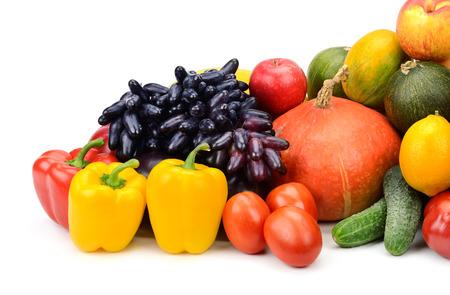 vegetables white background: assortment of fresh fruits and vegetables isolated on white background