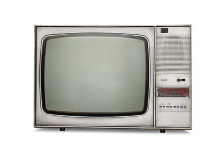 televisor: Old-fashioned tube TV isolated on a white background Stock Photo