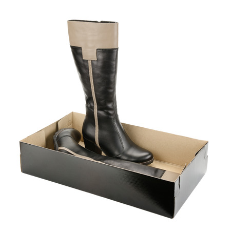 Stylish womens boots in box over white photo