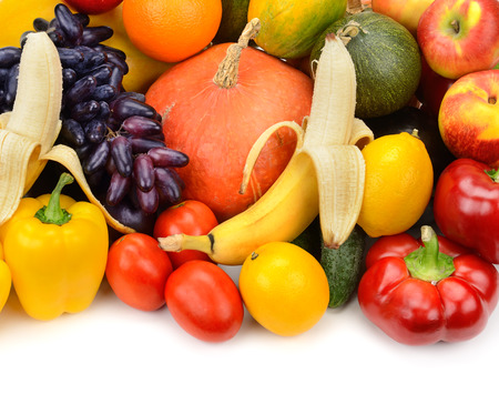 truck crops: fruit and vegetable isolated on white background