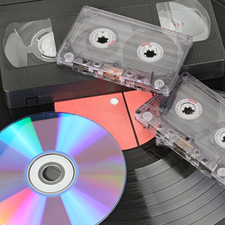 vhs videotape: various storage media isolated on white background Stock Photo
