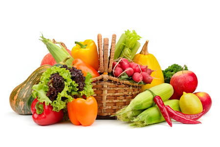basket: assortment vegetables and fruits in basket isolated on white background