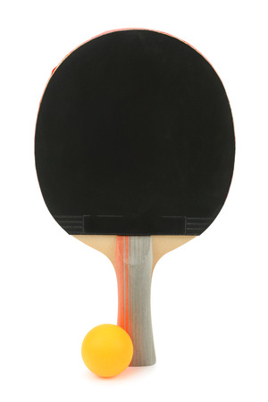 tennis racket and ball isolated on white background photo