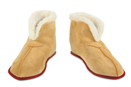 footware: Warm slippers isolated on white background