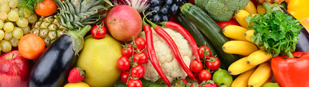 vegetable marrow: assortment fresh fruits and vegetables Stock Photo
