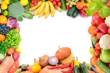 légumes vert: Cadre de légumes et de fruits sur blanc Banque d'images